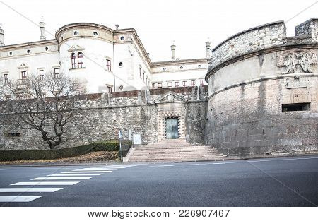 Buonconsilio Castle In Trento, Italy. Famous Historical Building, Seat Of Bishops And Princes