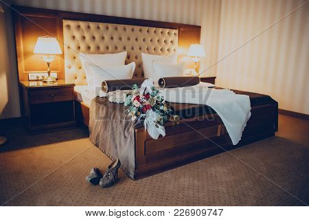Wedding Dress And Bouquet In The Hotel Room Accecories