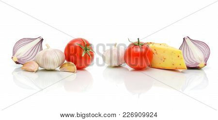 Cheese And Vegetables On A White Background. Horizontal Photo.