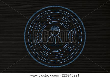 Brainstorming And Innovation Conceptual Illustration: Person With Gearwheel Thought Mechanism Surrou