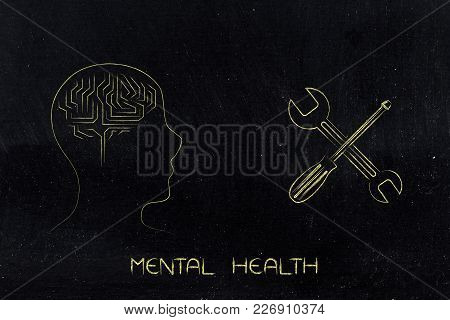 Mental Health Profile With Brain Symbol Next To Fixing Symbol Of Screwdriver And Wrench