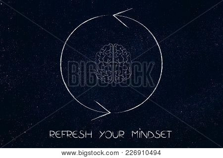 Refresh Your Mindset Conceptual Illustration: Brain Icon Surrounded By Refresh/repeat Sign