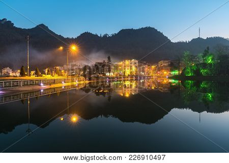 Sa Pa Travel Town At Twilight In Lao Cai Province, Vietnam