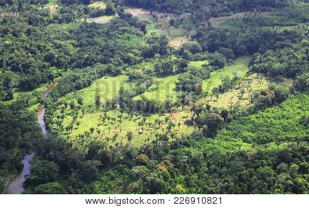 Very Remote Dwellings In The Jungle Are Seen During An Aerial Survey Of The Cockscomb Basin In Centr