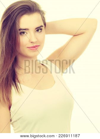 Teenage Beauty Concept. Closeup Portrait Of Young Teenager Woman Having Happy Face Expression.