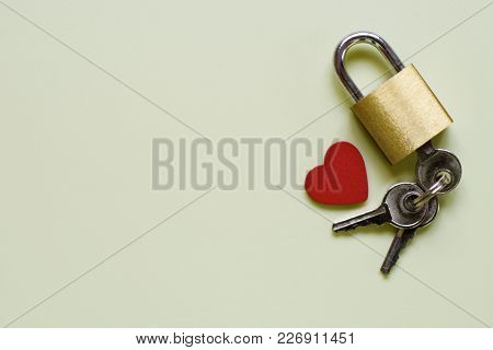 Key To Heart For True Love. Lonely Heart. Top View. Composition With Lock, Key And Heart On Very Lig