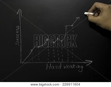 Graphic Bar On Blackboard With Drawing Hand