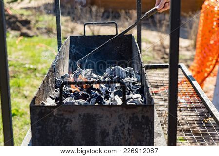 Grill-barbecue With Coals Ready For Frying Meat