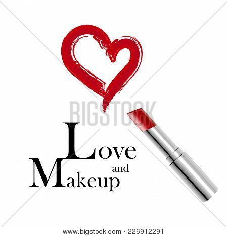 Makeup And Love. Metallic Lipstick And Red Trace In The Form Of Heart. Vector Illustration. Makeup A