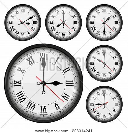 Retro Clock With Roman Numerals And Vintage Hour And Minute Hand. Collection. Vector 3d Illustration