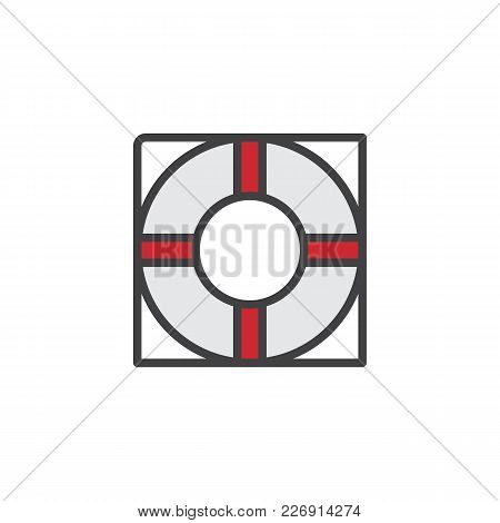 Life Buoy Filled Outline Icon, Line Vector Sign, Linear Colorful Pictogram Isolated On White. Lifesa