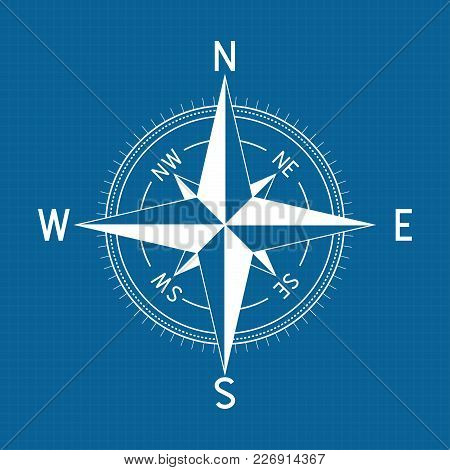 Compass Wind Rose. Vector Illustration On Blue Background