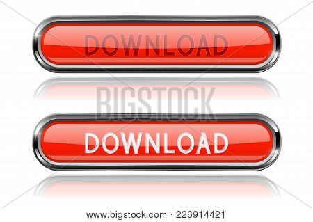 Download Red Glass Buttons. Oval Long Web Icons. Vector 3d Illustration Isolated On White Background