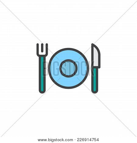 Plate With Cutlery Filled Outline Icon, Line Vector Sign, Linear Colorful Pictogram Isolated On Whit