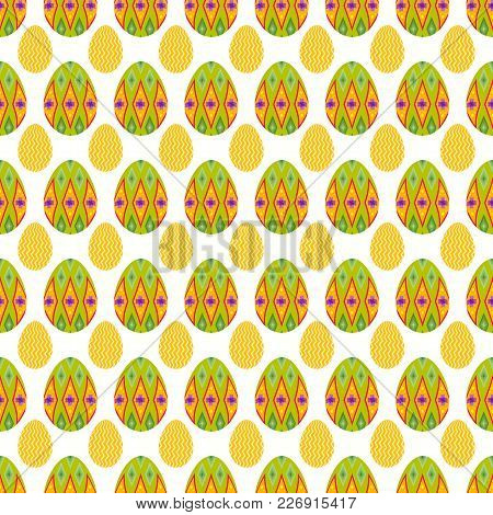 Seamless Pattern Of Lime Boho Eggs With Glimpse Of Small Zigzag Eggs For Easter Event