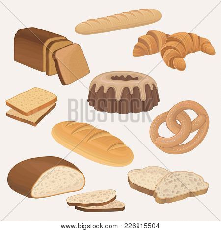 Bakery Products Shop Icons Set. Wheat And Rye Bread Loaves, Sliced Bread Toasts, Croissant, Chocolat