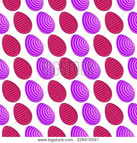 Seamless Pattern Of Purple And Maroon Eggs With Tilted And Wavy Abstract Lines