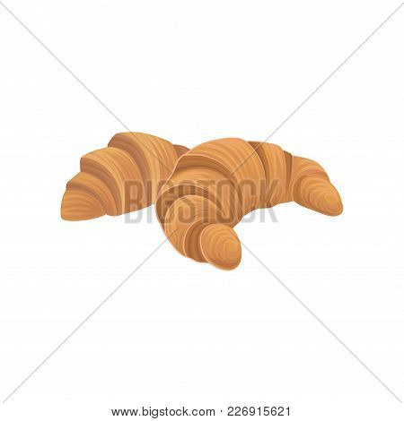 Two Fresh Croissants, Baked Puff Pastry. Flat Cartoon Style Design Element. Delicious Food Icon. Bak