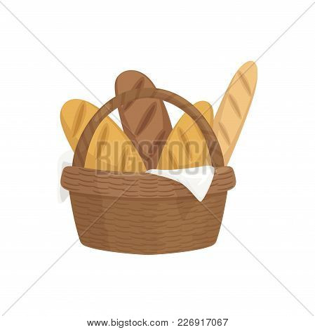 Fresh Baguettes In Wooden Basket, Fresh Baked Bread Vector Illustration Isolated On A White Backgrou