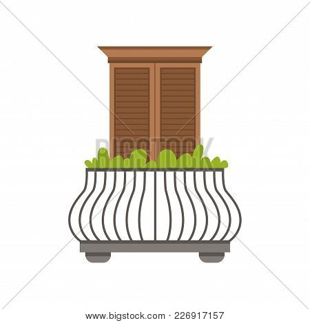 Balcony Of European House With Wrought Iron Railing And Plants, Window With Shutters Vector Illustra