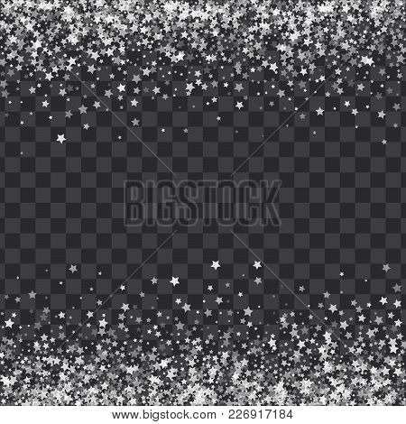 Abstract Pattern Of Transparent Falling Stars On Translucent Background. Glitter Template For Banner