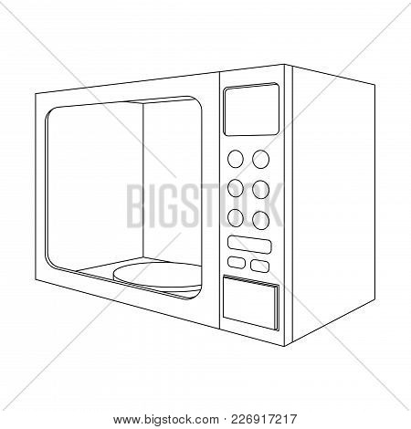 Microwave Oven. Outline Drawing. Vector Illustration Isolated On White Background