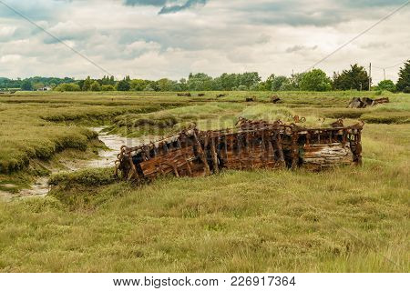 Old Pontoons In The Marshland Near The River Crouch, Wallasea Island, Essex, England, Uk