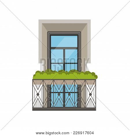 Classical Balcony With Wrought Iron Railing And Plants Vector Illustration Isolated On A White Backg