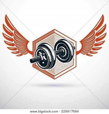 Dumbbell With Disc Weight Vector Illustration Created Using Wings. Cross Fit And Bodybuilding Sport