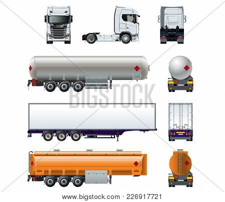 Vector Realistic Semitruck Mock-up Set Isolated On White Background For Branding. Front, Side, Rear