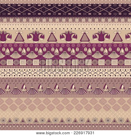 Ancient Egyptian Ornament Tribal Seamless Vector Pattern. An Be Used For Cloth, Jackets,  Invitation