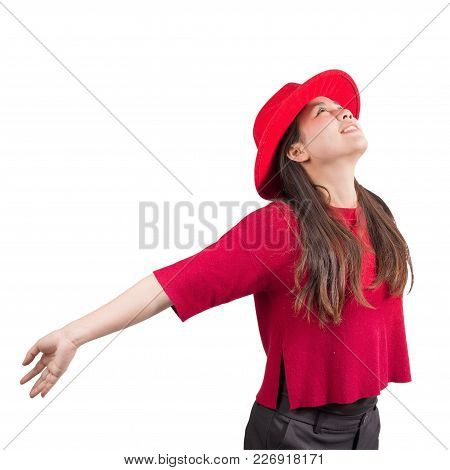 Smiling Pretty Asian Girl And Red Hat Isolated On White Background