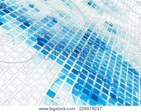 White And Blue Technology Background With Cells Or Scales. Abstract Computer-generated Image - Fract