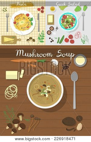 Soup Plate Dishes On Table Top View Vector Illustration Healthy Eating Breakfast Soup Lunch Meal Con