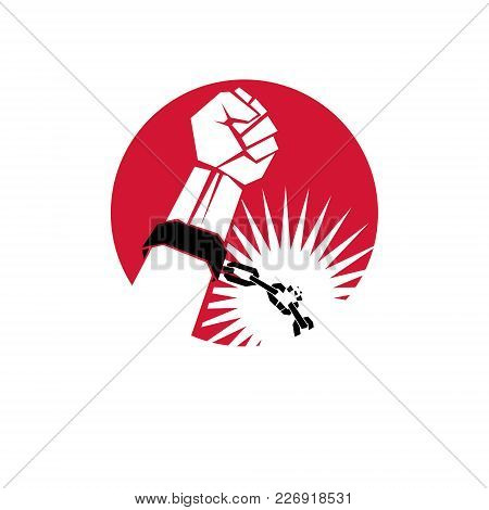 Slave Red Arm With Clenched Fist In Shackles Breaks The Chain. Freedom For The Prisoners.