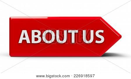 Red Icon Arrow With Text About Us, Three-dimensional Rendering, 3d Illustration