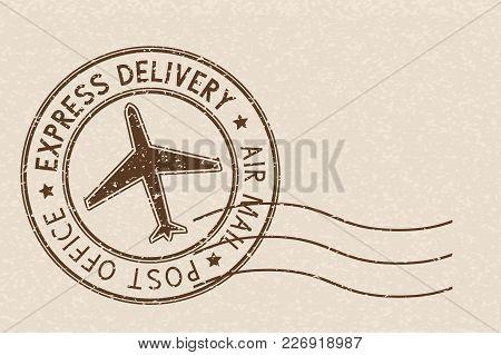 Round Brown Postmark On Beige Background. Vector Illustration