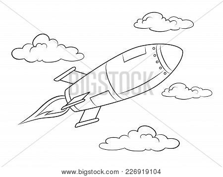 Rocket Missile Flying Coloring Vector Illustration. Isolated Image On White Background. Comic Book S