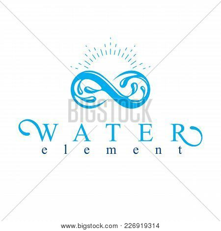 Mountain Water Spring Conceptual Logo, Limitless Symbol. Water Cleaning Company Conceptual Emblem.