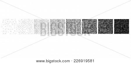 Set Of Stipple Seamless Pattern For Design. Set Of Gradient Ink Textures, Random Halftone, Pointilli