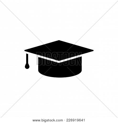 Education Icon Isolated On White Background. Graduation Cap Simbol In Flat Style. Simple Abstract Pl