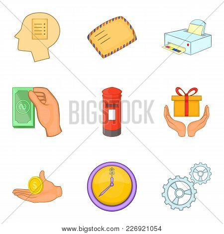 Direct Mailing Icons Set. Cartoon Set Of 9 Direct Mailing Vector Icons For Web Isolated On White Bac