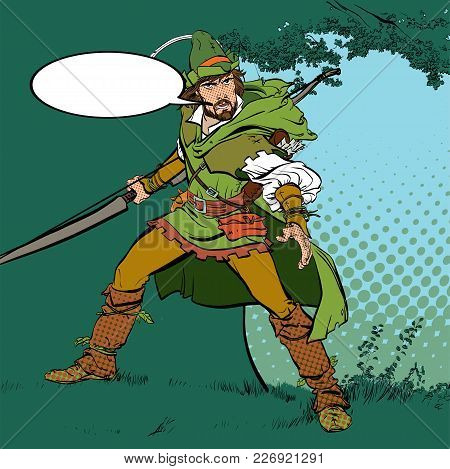 Robin Hood Standing With Bow And Arrows. Robin Hood In A Hat With Feather. Young Soldier. Noble Robb