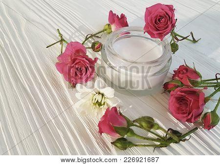 Cosmetic Cream, Roses, White Wooden  Bright, Bottle, Bowl, Rustic, Petal, Product, Sample, Rose Patt