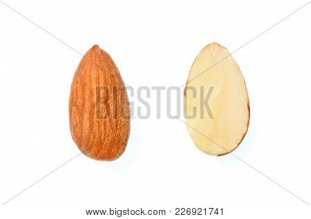 Isolated Almond Nut, Top View Closeup Photo Of Full Seed With Half Cross Cut Seed Of Almond Nut Isol