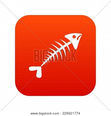 Fish Bone Icon Digital Red For Any Design Isolated On White Vector Illustration