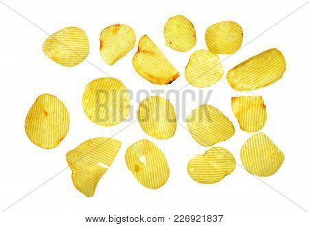 Isolate Potato Chip, A Closeup Photo Image Of Potato Chip Isolate On White Background Present Many K
