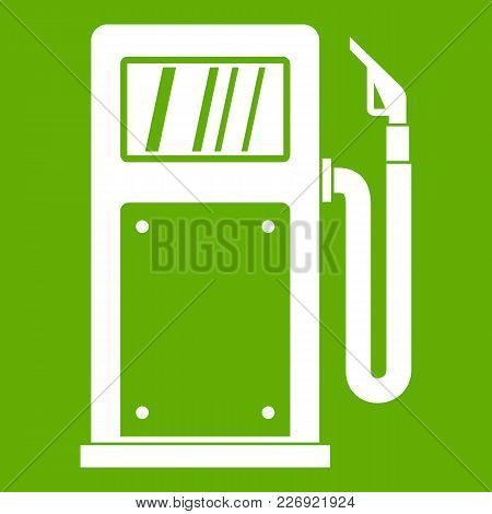 Gasoline Pump Icon White Isolated On Green Background. Vector Illustration