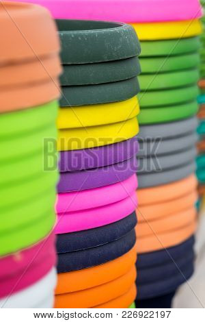 Colorful Plastic Baskets For Plant Or Flowers, Colored Plastic Containers, Rainbow Colorful Plastic