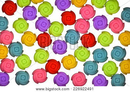 Jelly Mould Pattern, Top View Photo Of Colorful Jelly Mould Scattered On White Bright Background Pre